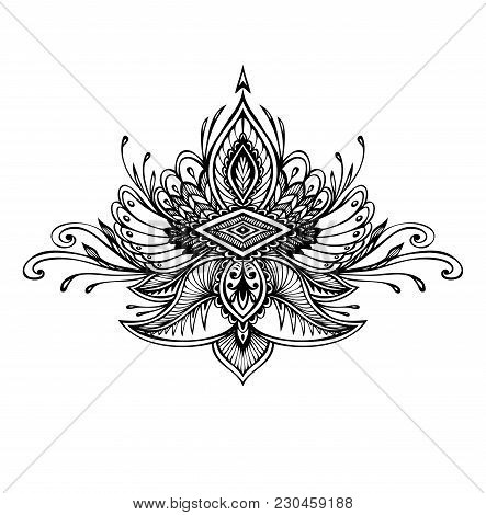 Abstract Zentangle Zendoodle  Symbol In Boho Indian Asian Ethno  Style For Tattoo Black On White For