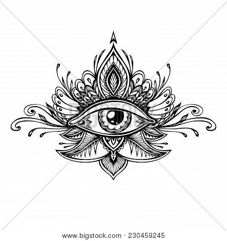 Abstract Symbol Of All-seeing Eye In Boho Indian Asian Ethno  Style For Tattoo Black On White For De