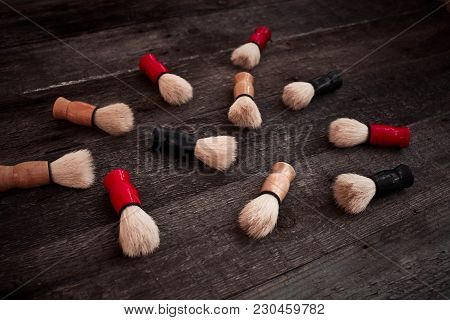 Shaving Brush On A On  Wooden Table Background