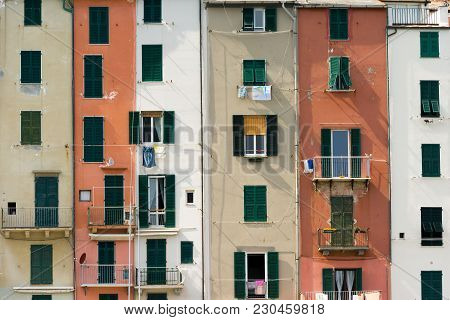 Detail Of The Colorful Tower Houses In Porto Venere Or Portovenere (unesco World Heritage Site). La