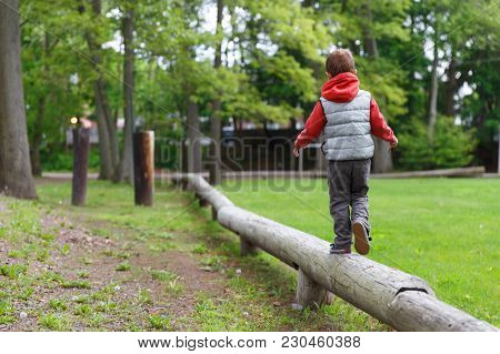 Little Child On The Balance Beam. Boy Walking On A Log In The Park. Back View. Copy Space For Your T