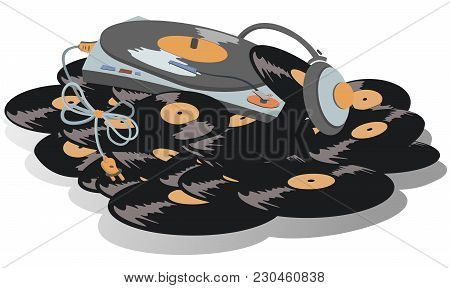 Record Player, Headphones Are On The Big Pile Of Vinyl Records Illustration. Record Player, Headphon