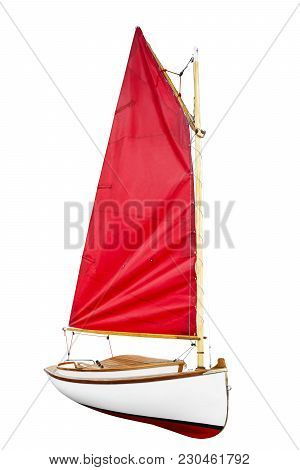 Sailboat With Red Scarlet Sail  Isolated On A White Background.