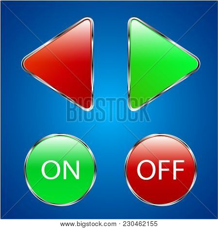 Red And Green Buttons On A Blue Background. Buttons With Inscription On Off