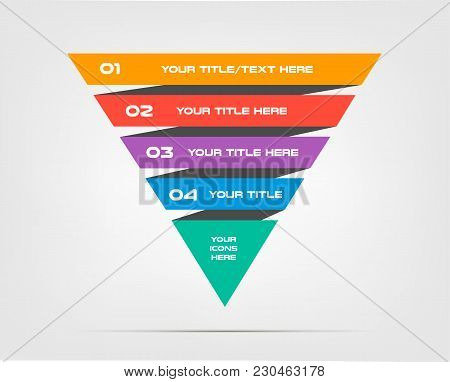 Pyramids Infographic Concept. Vector Template With 5 Options, Parts, Stages, Buttons. Can Be Used Fo
