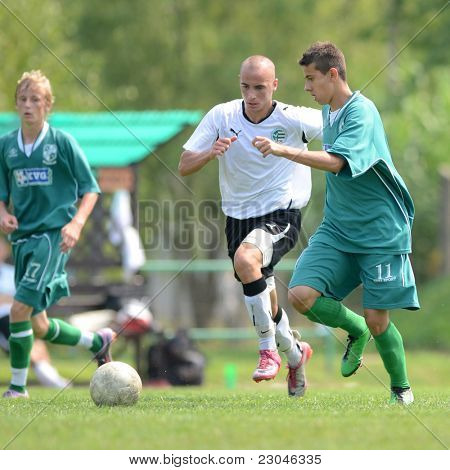 KAPOSVAR, HUNGARY - AUGUST 27: Richard Csaki (R) in action at the Hungarian National Championship under 18 game between Kaposvar (green) and Gyor (white) August 27, 2011 in Kaposvar, Hungary.