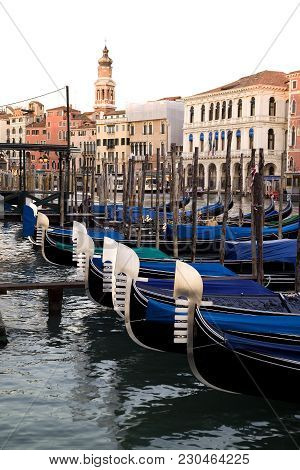 Gondolas On Grand Canal In Venice , Italy. Europe. Under The Main Blade There Is A Kind Of Comb With