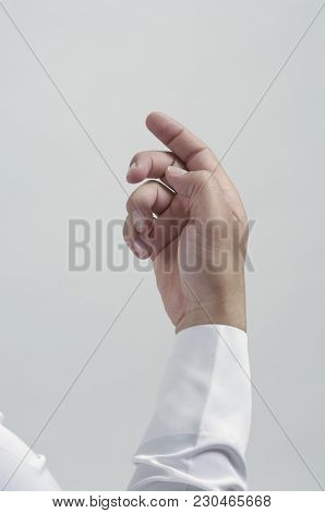 Empty Male Hand For Placing Mobile Phone Or Other Object Isolated