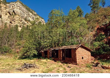 The Ghostly Remains Of A Famous Mayhew Lodge Near Sedona Arizona. The Lodge Was Originally Built Bac
