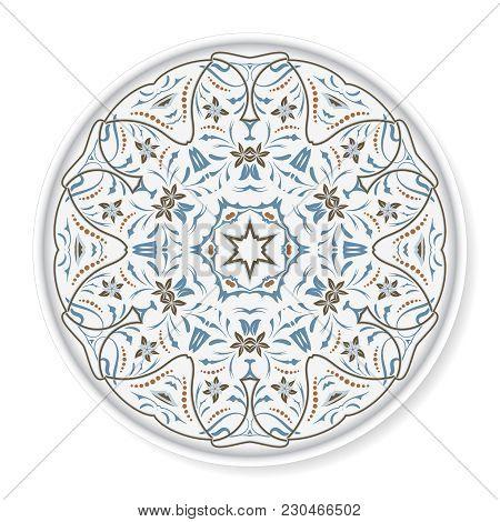 Decorative Plate With Colored Arabic Ornament. Home Decor Background, Interior Decoration, Kitchen P