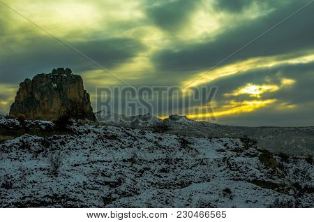 Eye Shaped Green Sunset Over The Bewitching Cappadocia, Turkey