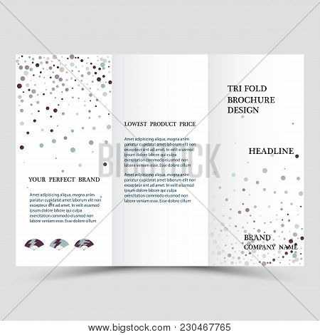 Three Fold Business Brochure Template, Corporate Flyer Or Cover Design In Blue Colors. Template Thre
