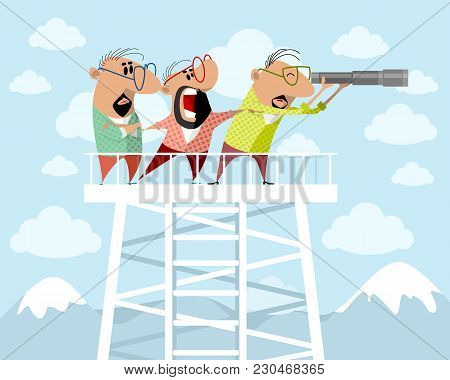 Vector Illustration Of Three Men On A Watchtower