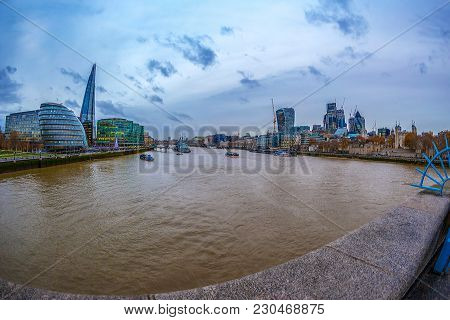 London; England - November 27; 2017: Panoramic View Over London From The Tower Bridge To The City Ha