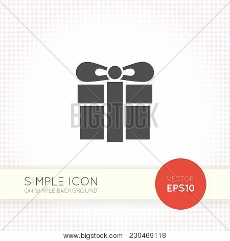 Flat Design Vector Gift Box Icon. Minimalistic Graphic Element For User Interface Of Website And App