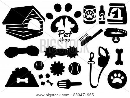 Set Of Pet Shop Black Icons. Accessories For Cats. Flat Vector Illustration. Feed, Toys, Bowl, Colla