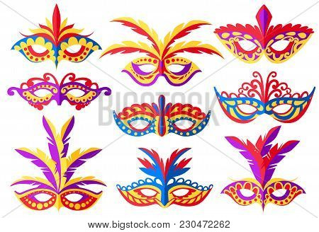 Set Of Carnival Face Masks. Masks For Party Decoration Or Masquerade. Colored Mask With Feathers. Ve