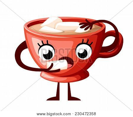 Cute Coffe Cup Character Design. Cartoon Style Cup Eat Marshmallow. Mascot Red Cup. Vector Illustrat