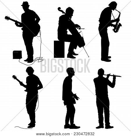 Silhouettes Street Musicians Playing Instruments On A White Background.