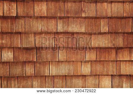 Abstract Wooden Texture Of Cedar Shingles In Austria