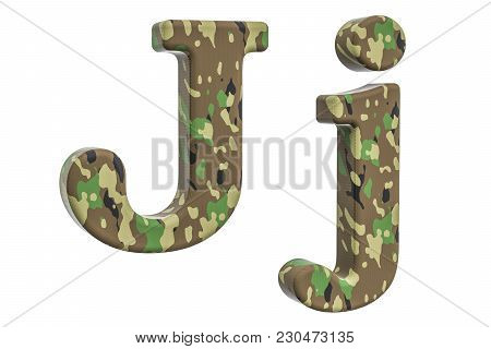Camouflage Army Letter J, 3d Rendering Isolated On White Background