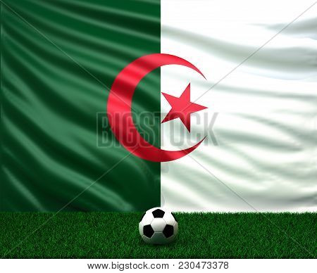 Soccer Ball With The Flag Of Algeria