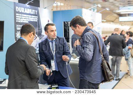 Ljubljana, Slovenia - Sept 8: Company Representatives Marketing New Equipment For Ultrasound Diagnos