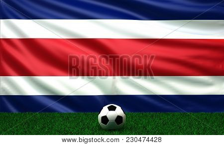 Soccer Ball With The Flag Of Costa Rica