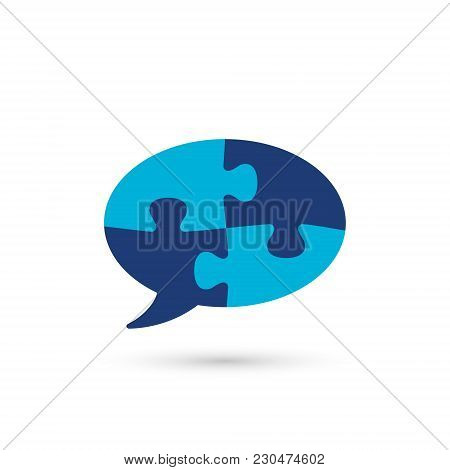 Puzzle Speech Bubble Icon, Vector Isolated Simple Color Flat Illustration.