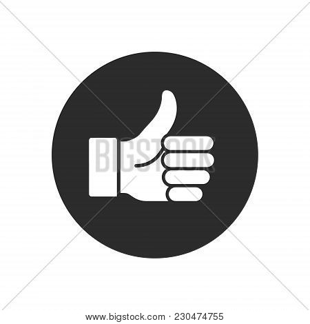 Like Icon In Trendy Flat Style Isolated On Round Grey Background. Like Symbol. Vector Illustration.