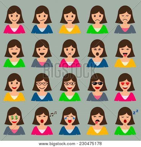 Woman Head With Different Emotions Expression Mood Set, Vector Isolated Female Smile Color Collectio