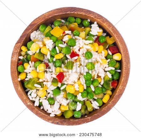 Frozen Mix Vegetables And Rice. Studio Photo