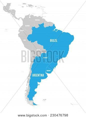 Map Of Mercosur Countires. South American Trade Association. Blue Highlighted Member States Brazil,
