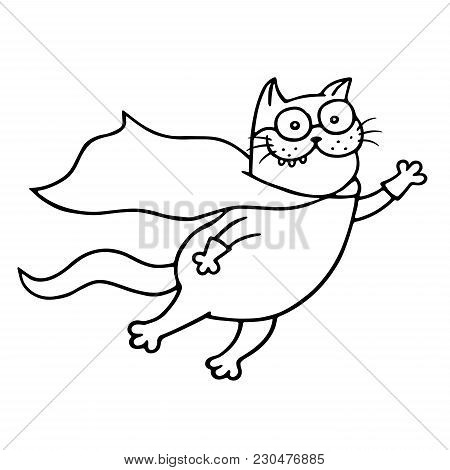 Super Cat Is Flies For A Feat. Funny Cartoon Superhero Character. Isolated Vector Illustration.