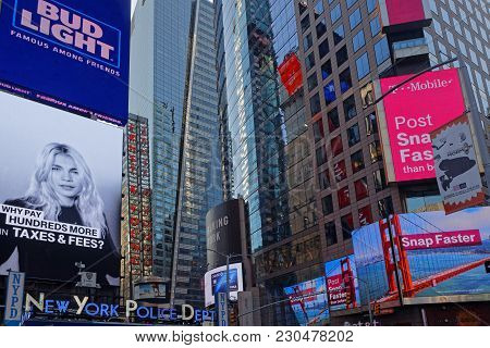 New York City, Usa, September 10, 2017 :  Times Square Is A Major Commercial Intersection, Tourist D