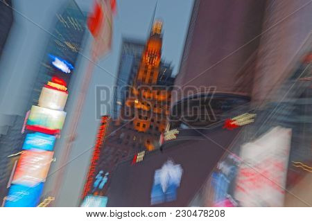 New York City, Usa, September 10, 2017 : Blurry View Of Times Square. Times Square Is A Major Commer