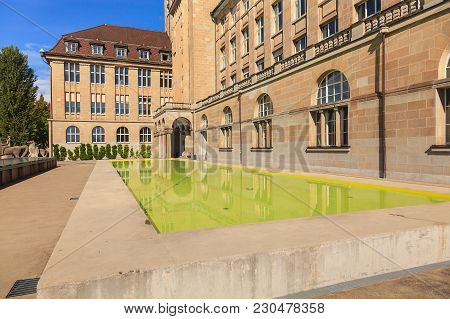 Zurich, Switzerland - 13 October, 2013: Square In Front Of The Main Building Of The University Of Zu