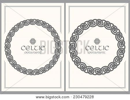 Celtic Knot Braided Frame Border Ornament. A4 Size. Vector Illustrations Set.