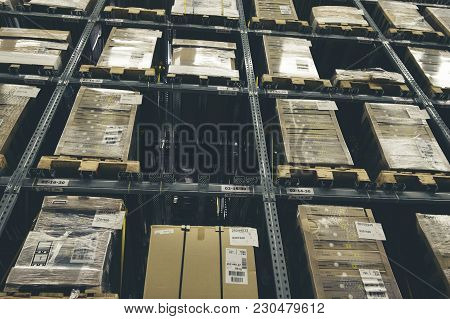 Distribution Storehouse Or Modern Warehouse Exterior With Vintage Tone