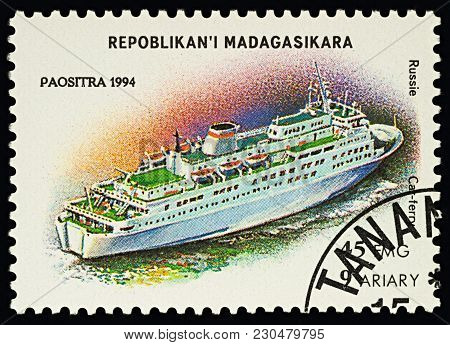 Moscow, Russia - March 10, 2018: A Stamp Printed In Madagascar Shows Russian Car Ferry, Series
