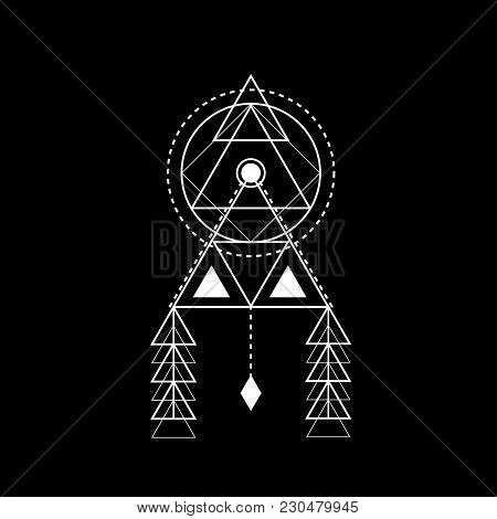 Sacred geometry forms. Magical totem. Alchemy, religion, philosophy, hipster elements and logo. Bohemian ethnic symbol poster