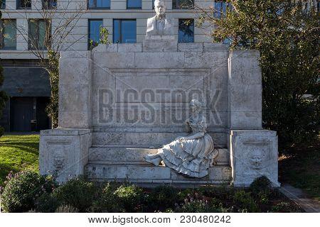 Madrid, Spain - January 21, 2018: Monument To Juan Valera At Paseo De La Castellana Street In City O