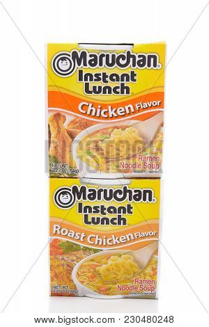 Irvine, California - March 10,  2018: Maruchan Instant Lunch Two Flavors, Maruchan Began Making The