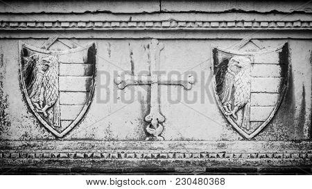 Particular Of The Facade Of A Church With Middle Ages Symbol Of Noble People, Black And White