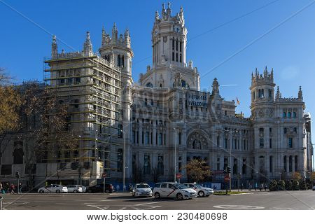 Madrid, Spain - January 21, 2018: Palace Of Linares At Cibeles Square In City Of Madrid, Spain