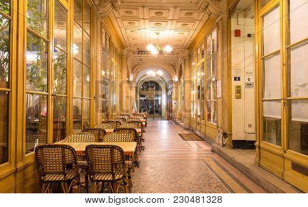Paris, France - March 07, 2018 Galerie Vivienne Is An Ancient Historical Passage With Shops And Rest