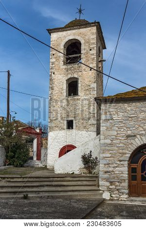 Bell Tower Of Orthodox Church With Stone Roof In Village Of Theologos,thassos Island, East Macedonia