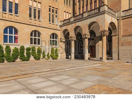 Zurich, Switzerland - 13 October, 2013: Entrance To The Main Building Of The University Of Zurich. T