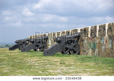 Antique Cannon On The Ramparts Of Azov