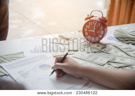 Financial Problem With Summary Report And Banknote. Financial Concept.